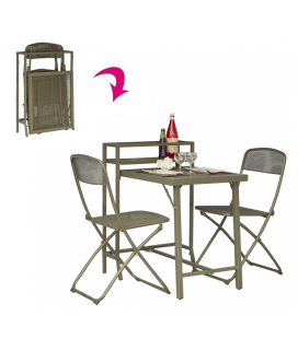 Table et 2 chaises jardin pliable taupe Rome