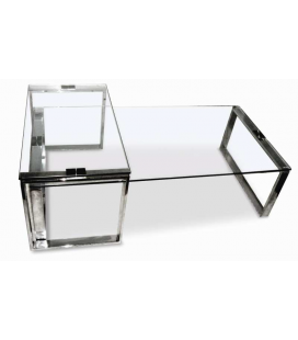 Table basse en verre double Adamy