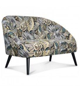 Fauteuil Gabriel canapé 2 places en tissu motifs feuille jungle