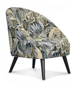 Fauteuil Gabriel en tissu motifs feuilles jungle