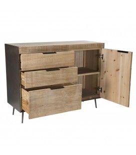 Buffet 3 tiroirs 1 porte Sapin et pieds métal Clarita
