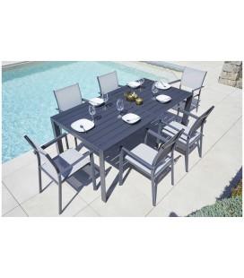Table de jardin extensible alu gris foncé + 8 fauteuils empilables Argos