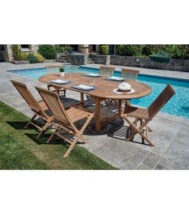 Table et 6 chaises jardin bois massif avec rallonge intégrée Denpasar