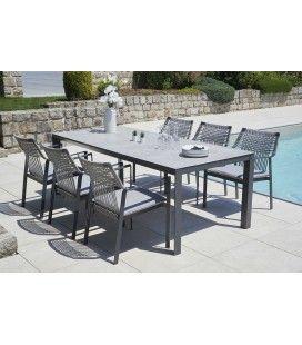 Ensemble table 6 chaises de jardin gris deluxe Caledonie