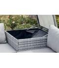 Salon de jardin angle avec coffre intégré gris taupe 4 places Belem