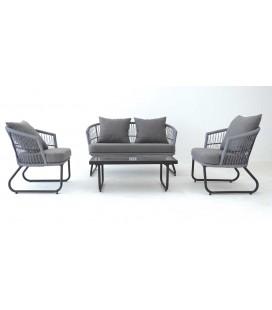 Salon de jardin gris et taupe 4 places et table en verre Dili
