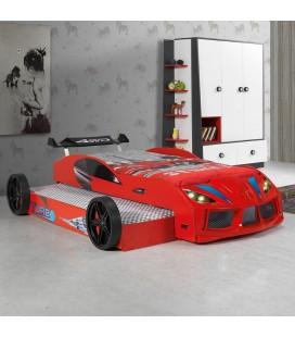 Lit gigogne enfant 1 place voiture de course rouge