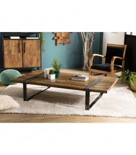 Table basse bois massif cerclée métal style indus SAVANE