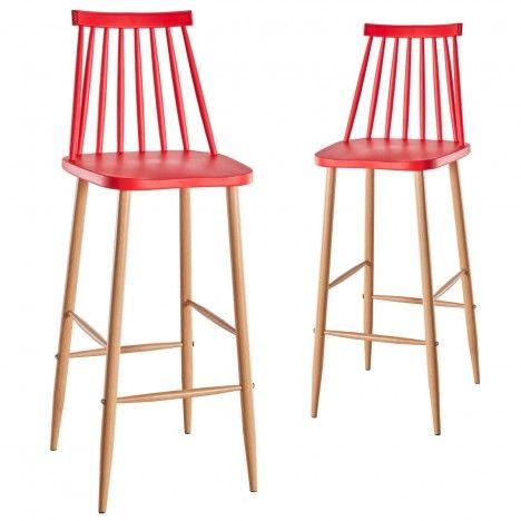 Chaise de bar style bistrot scandinave - Lot de 2 -