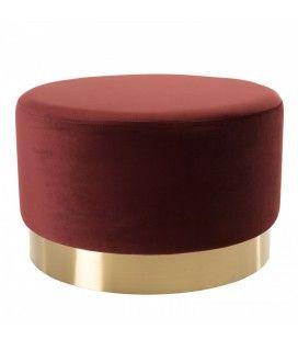 Pouf rond 55x55cm tissu velours bordeaux ceinture dorée BOGOTA