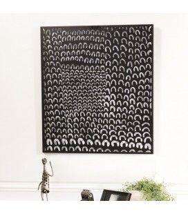Décoration murale rectangulaire 64x70cm métal noir CALI
