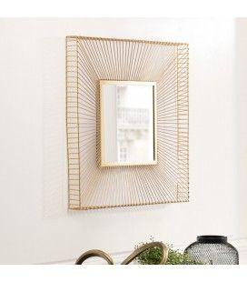 Miroir carré métal doré CALI