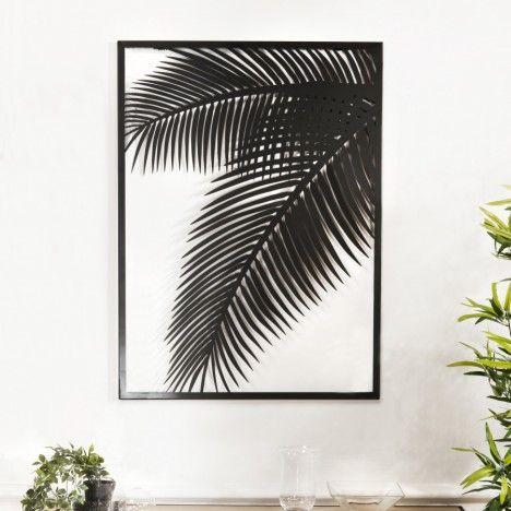Décoration murale rectangulaire 74x100cm métal noir feuille palmier CALI