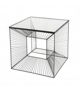 Table d'appoint carrée métal noir plateau verre CALI