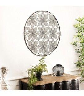 Décoration murale ronde 90x90cm métal noir fleurs CALI