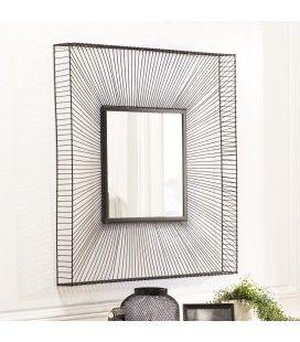 Miroir carré métal noir CALI