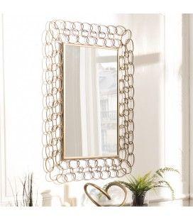 Miroir rectangulaire métal doré CALI