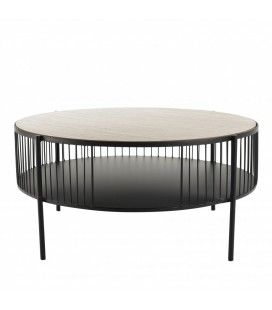 Table basse ronde double plateau 80x80cm base métal CALI