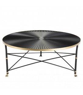 Table basse ronde 91x91cm ceinture dorée pieds métal noir CALI