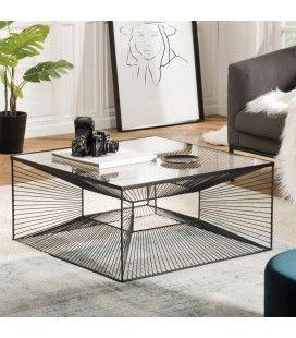 Table basse carrée métal noir plateau verre CALI