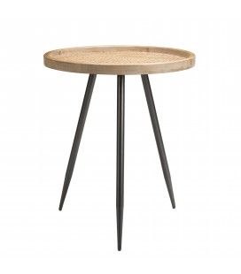 Table d'appoint ronde cannage rotin pieds métal PALMIRA