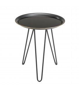 Table d'appoint ronde métal noire et dorée PALMIRA