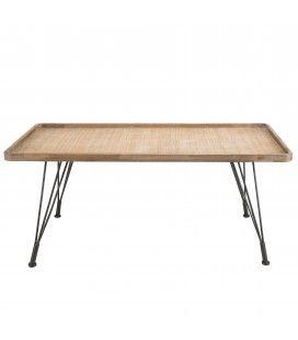 Table basse rectangulaire cannage rotin pieds métal PALMIRA