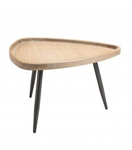 Table d'appoint ovoide cannage rotin pieds métal PALMIRA