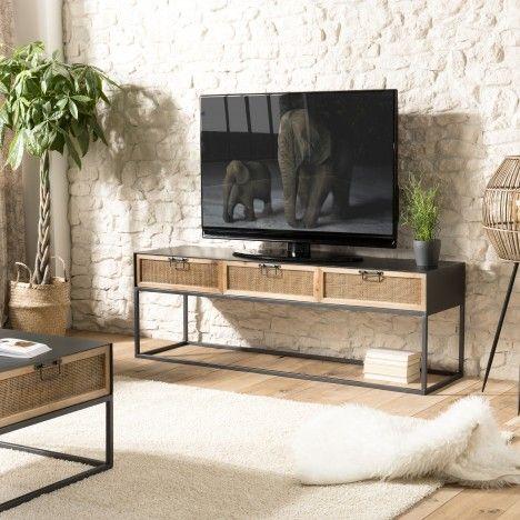 Meuble TV métal 3 tiroirs cannage rotin PALMIRA