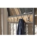 Meuble d'entrée porte-manteau Sapin et métal avec miroir et 2 étagères PALMIRA