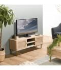 Meuble TV 2 niches 2 portes toile de jute pieds métal doré TUMACO