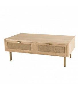 Table basse 2 tiroirs toile de jute pieds métal doré TUMACO