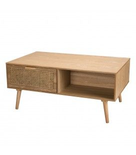 Table basse couleur naturel 2 tiroirs cannage rotin 1 niche RODRIGO