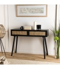 Console noire 2 tiroirs cannage rotin IBAGUE