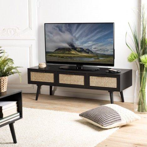 Meuble TV noir 3 tiroirs cannage rotin IBAGUE