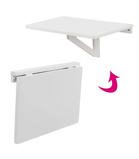 Table murale rabattable 60x40cm blanc gain de place Worky