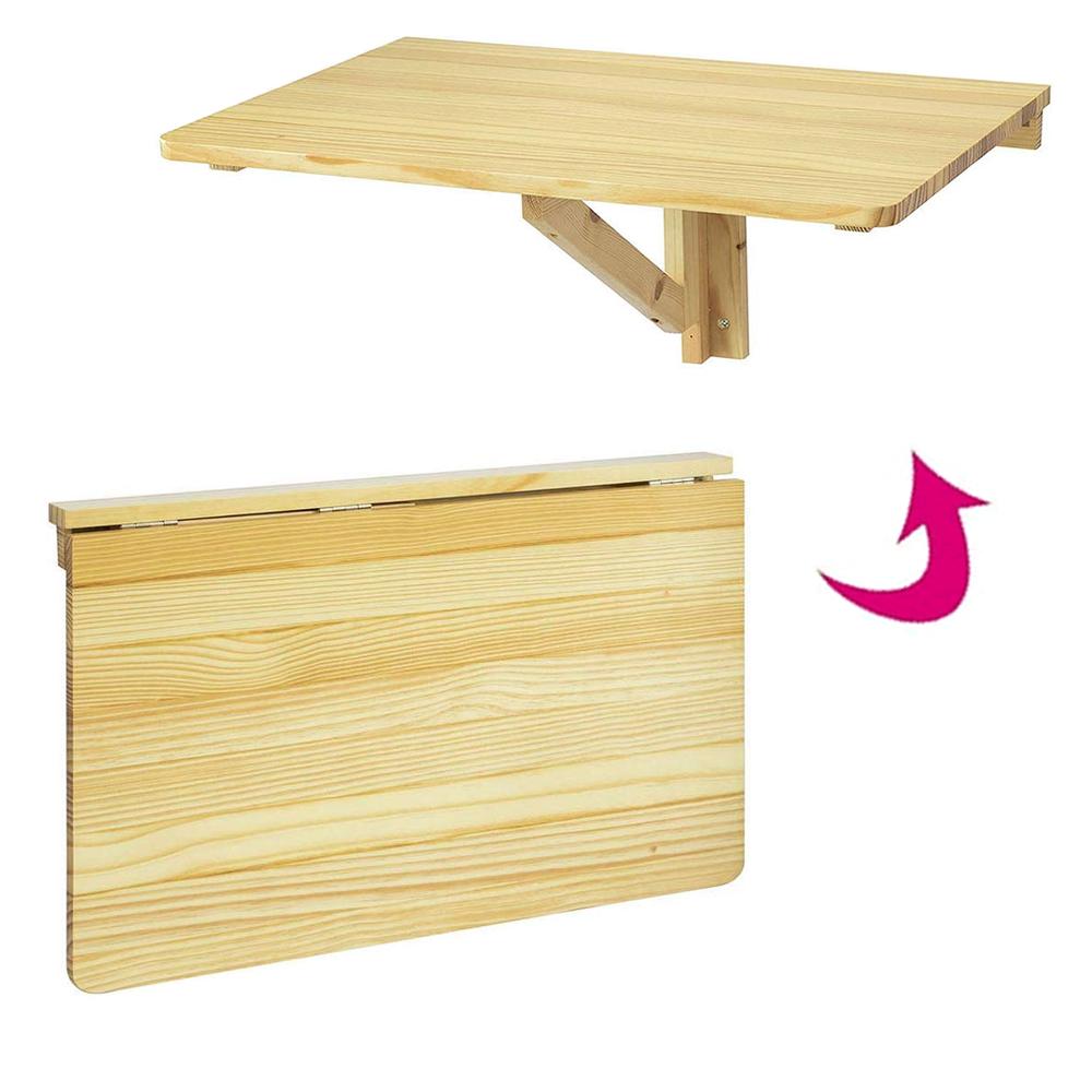 Bureau mural table pliable télétravail 5x5cm bois clair Worky