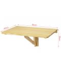 Bureau mural table pliable télétravail 60x40cm bois clair Worky