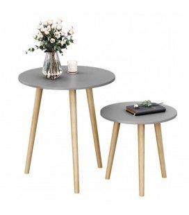 Table basse d'appoint grise pieds bois clair - Lot de 2