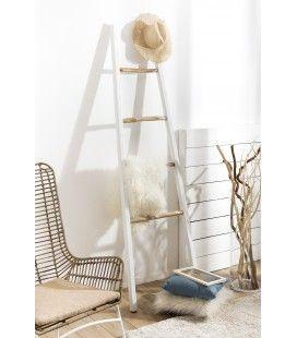 Porte serviette échelle blanc et bois CATIVA