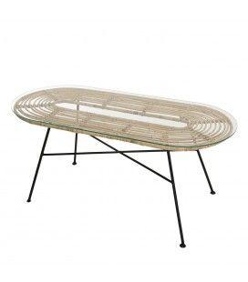 Table 100x45cm rotin naturel plateau verre pieds métal LOMASA