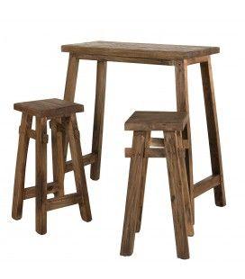 Set de bar 1 table 90x40cm et 2 tabourets bois Mahogagny Belina - esprit Brocante CABIMA