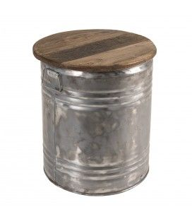 Table d'appoint ronde 42x42cm bidon acier et bois recyclé - esprit Brocante CABIMA