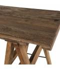 Console tréteaux 140x38cm en bois recyclé - esprit Brocante CABIMA