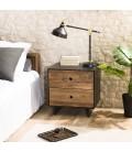 Chevet 2 tiroirs bois massif reyclé et noir PACORA