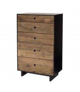 Meuble chiffonnier 5 tiroirs bois massif reyclé et noir PACORA
