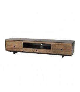 Meuble TV 3 tiroirs 1 niche bois massif reyclé et noir PACORA