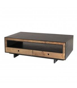 Table basse 4 tiroirs 1 niche bois Pin recyclé PACORA