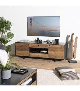 Meuble TV 2 portes 2 tiroirs 1 niche bois et noir Pin recyclé PACORA