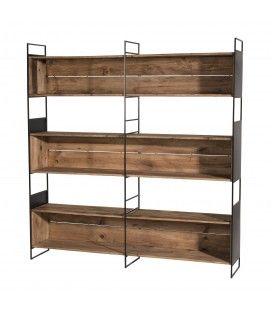 Etagère niche 3 niveaux bois Pin recyclé et métal PACORA
